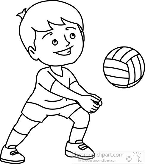 Kids playing volleyball clipart black and white jpg stock Black And White Volleyball Clipart jpg stock