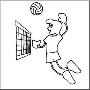 Kids playing volleyball clipart black and white jpg free library Clip Art: Cartoon School Scene: Sports: Volleyball 01 B&W I ... jpg free library