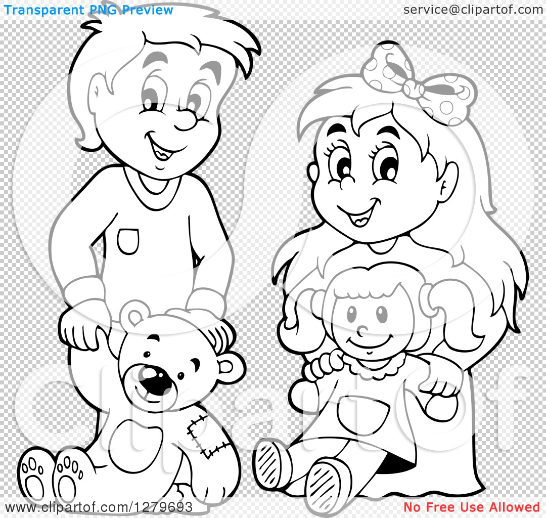 Kids playing with dolls clipart black and withe picture library Black And White Doll PNG Transparent Black And White Doll ... picture library