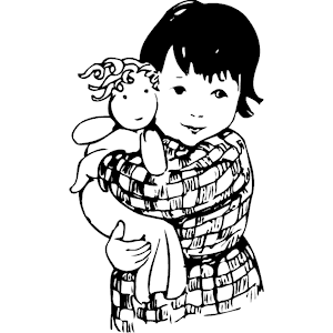 Kids playing with dolls clipart black and withe free Black And White Doll PNG Transparent Black And White Doll ... free