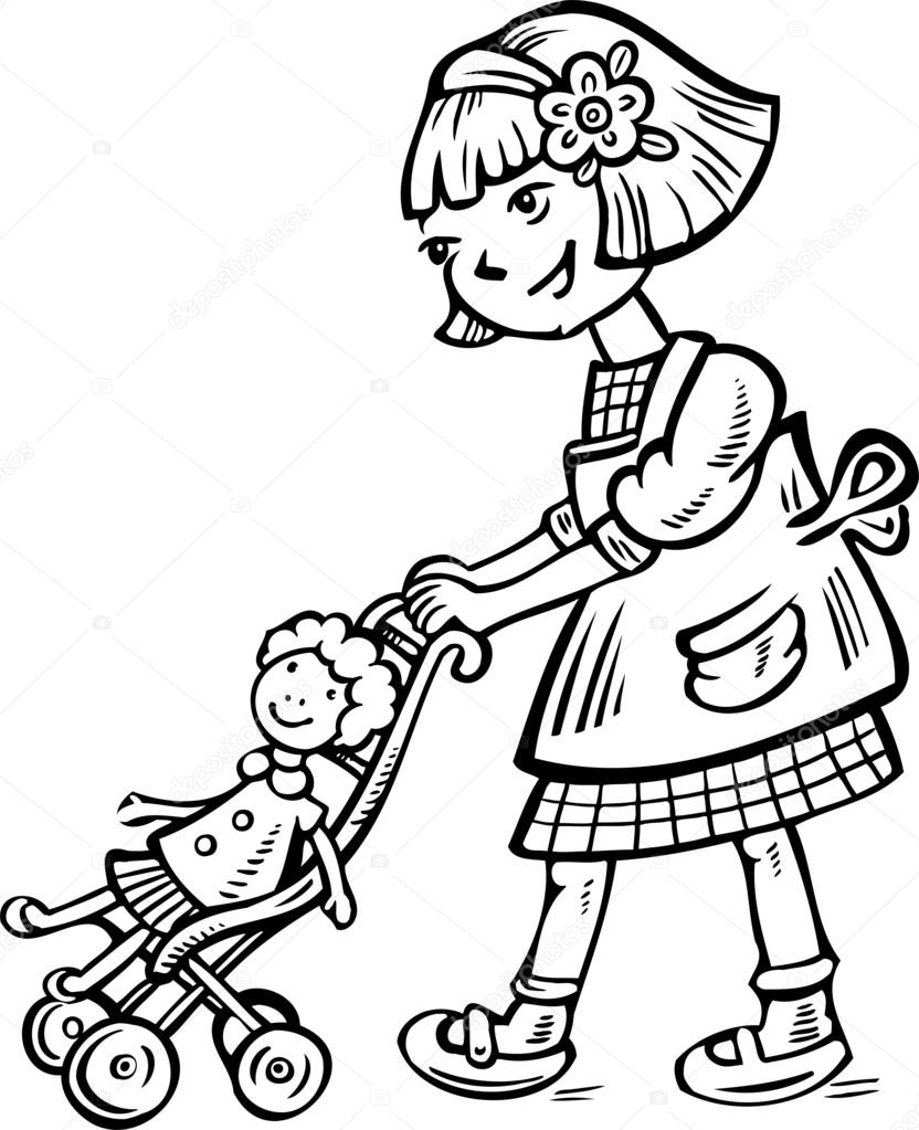 Kids playing with dolls clipart black and withe clip art black and white download Doll Clipart Black And White | Free download best Doll ... clip art black and white download