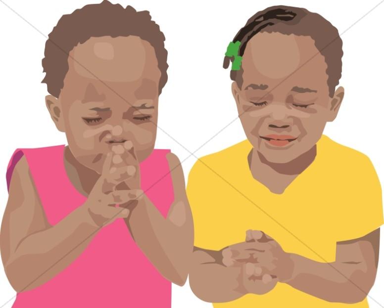 Kids prayer clipart vector stock Two Children Praying | Prayer Clipart vector stock