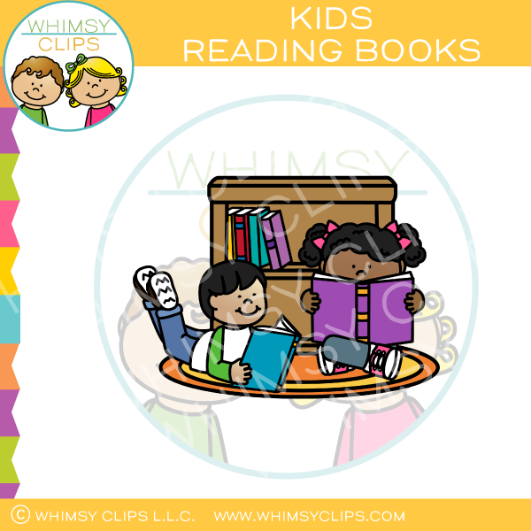 Kids reading books clipart clipart black and white download Kids Reading Books On The Floor Clip Art clipart black and white download