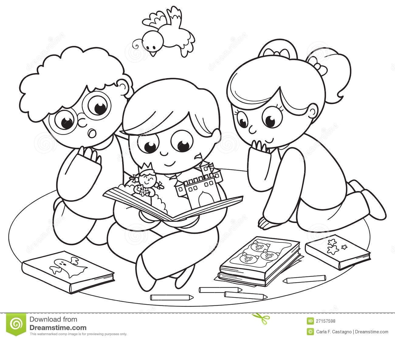 Kids reading books clipart black and white clip art library stock Children Reading Books Clipart Black And White regarding ... clip art library stock