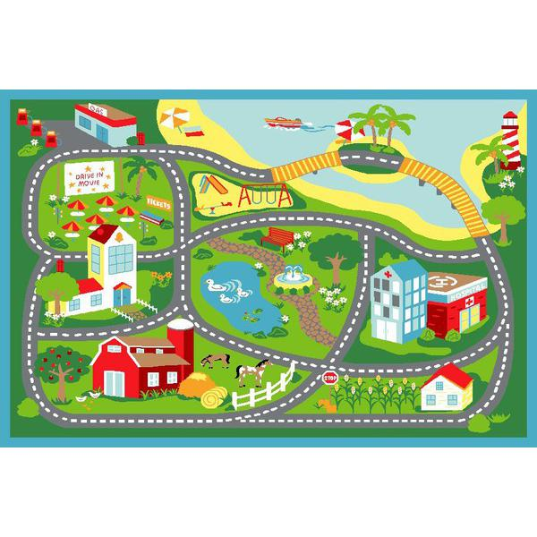 Kids road map clipart vector royalty free Main product photo of Kids Non Slip Road Map City Rug 150x100cm My ... vector royalty free