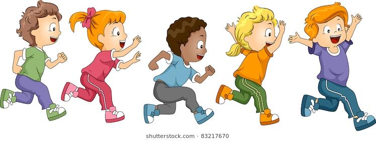 Kids running around clipart