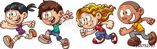 Kids running around clipart clipart royalty free download Cartoon running kids. Vector clip art illustration with ... clipart royalty free download