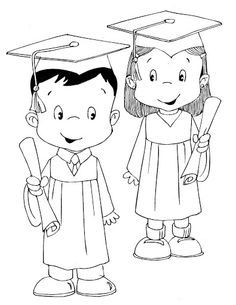 Kids school end of year clipart black and white graphic library library Graduates childrens - free coloring pages | Coloring Pages ... graphic library library