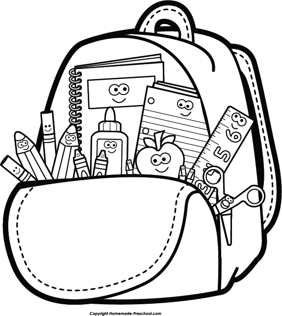 Kids school end of year clipart black and white banner free library Backpack and supplies clipart | Spalvinimo paveikslėliai ... banner free library