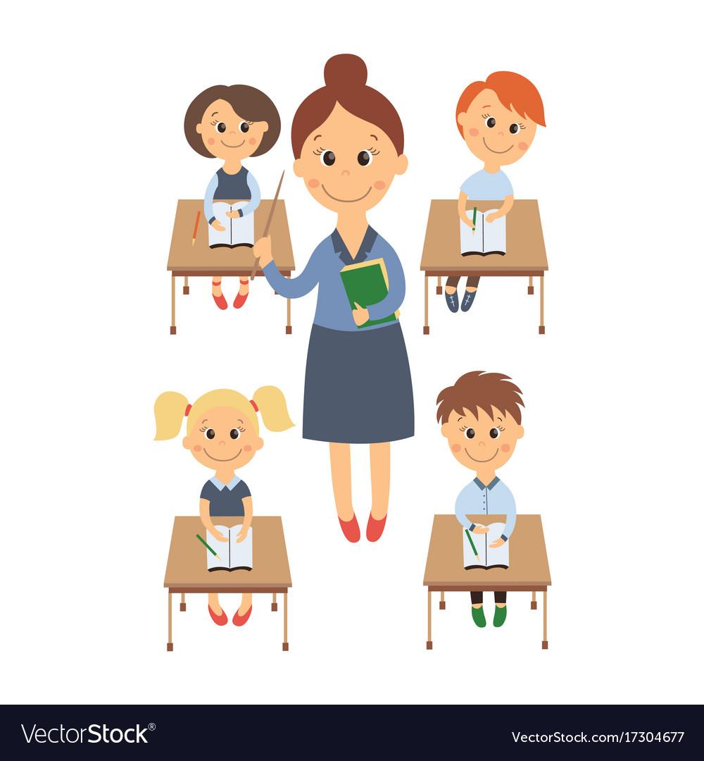 Kids sitting with teacher clipart clip Flat children sitting at desk teacher set clip