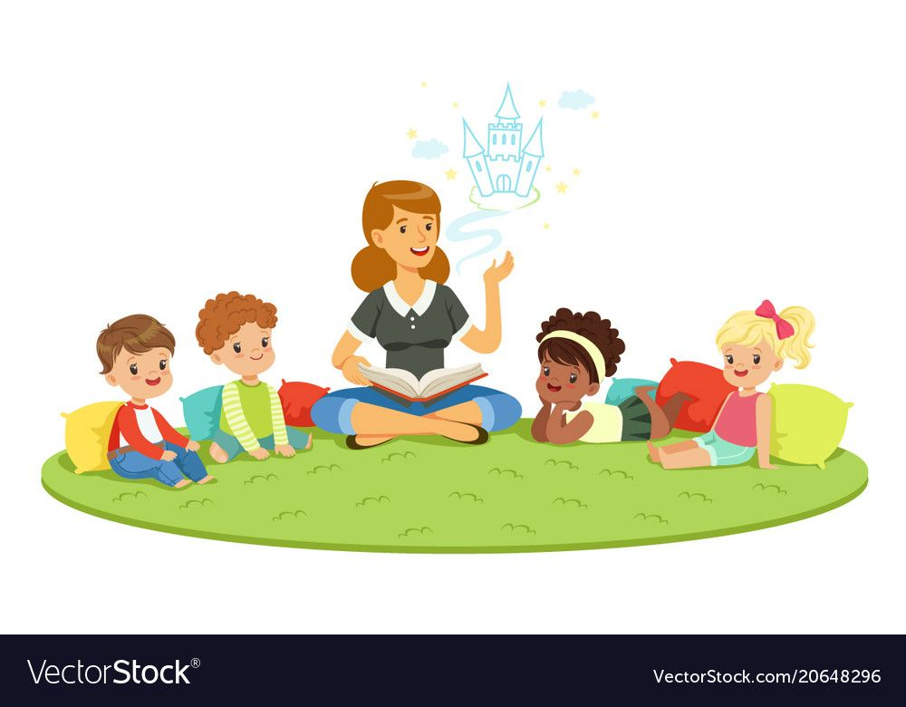 Kids sitting with teacher clipart clipart freeuse library Elementary students and teacher children Vector Image ... clipart freeuse library