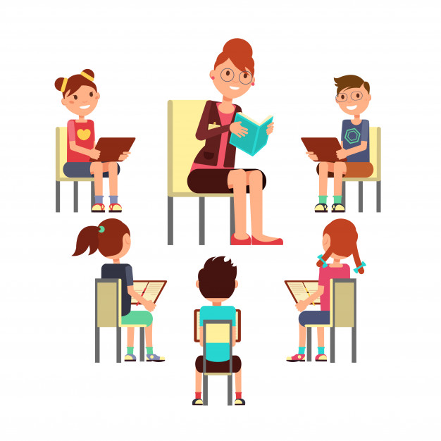 Kids sitting with teacher clipart svg royalty free stock Teacher reading book to children that sitting around. kids ... svg royalty free stock