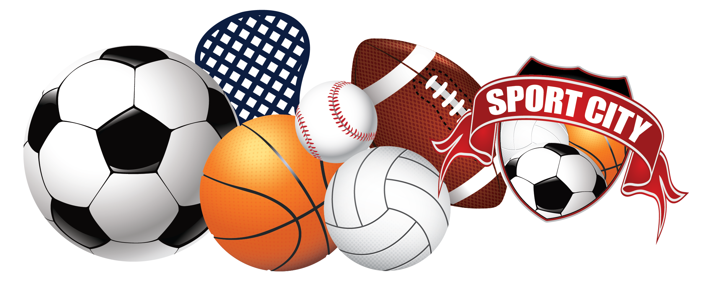 Summer new sport city. Basketball and volleyball clipart