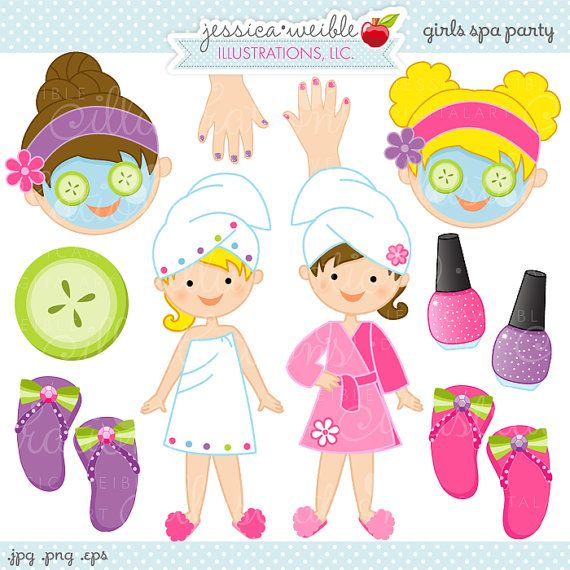 Kids spa clipart svg free download Girls Spa Party Cute Digital Clipart, Commercial Use OK, Spa ... svg free download