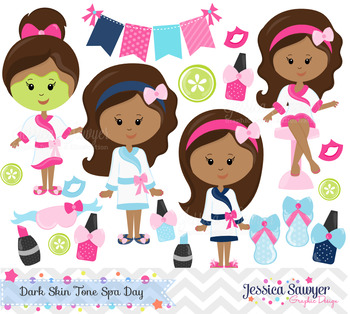 Kids spa clipart graphic royalty free download Spa Day Clipart and Vectors Dark Skin Tones graphic royalty free download