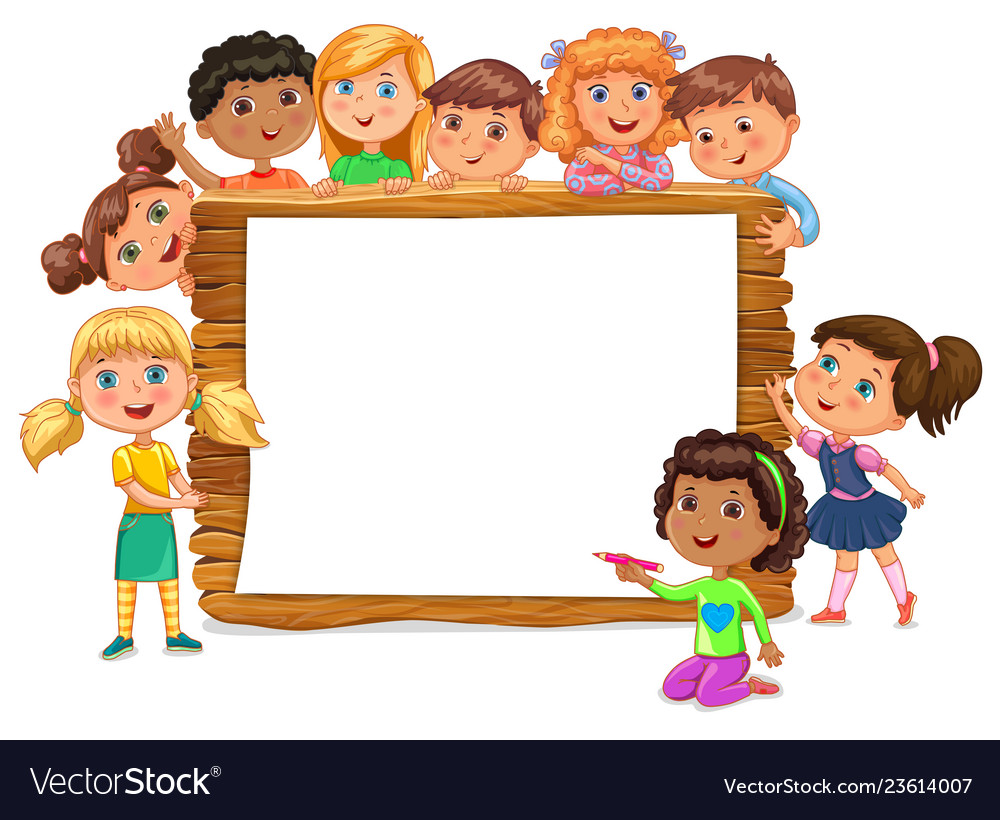 Kids standing clipart graphic library library Cute kids standing near blank wooden banner graphic library library