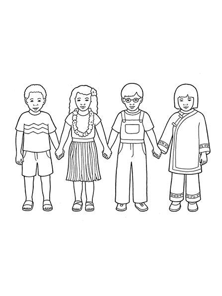 Black and white clipart lds children all around the world clip royalty free stock Kids Holding Hands Drawing at PaintingValley.com | Explore ... clip royalty free stock
