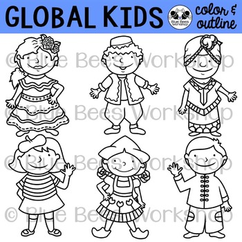 Kids standing on the world clipart black and whtie banner free Multicultural Kids from Around the World Clip Art - Set 2 banner free