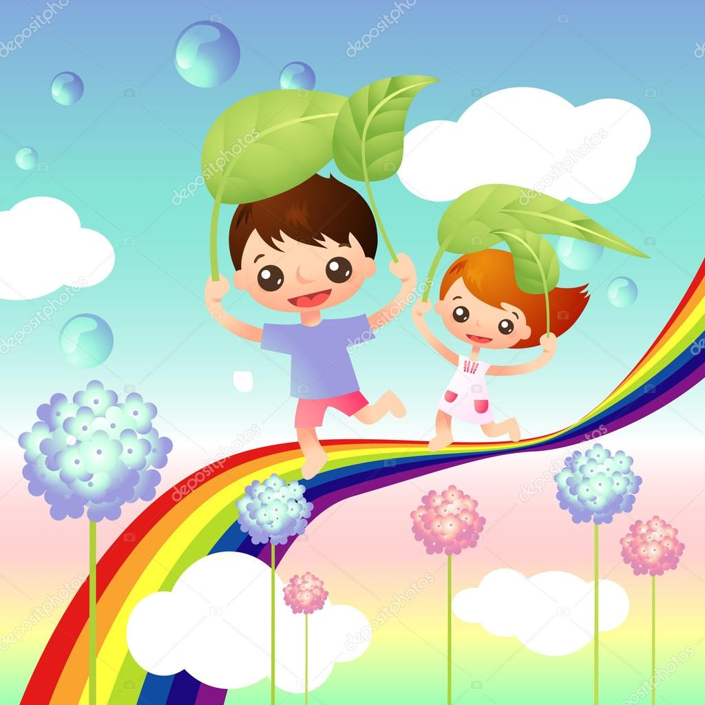 Kids storybook flying clipart png royalty free download Story book cover with two happy kids — Stock Vector © vecstock ... png royalty free download