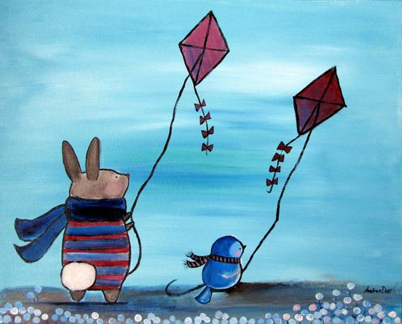Kids storybook flying clipart free stock Childrens Decor Kids Wall Art Woodland Storybook Painting Kite ... free stock