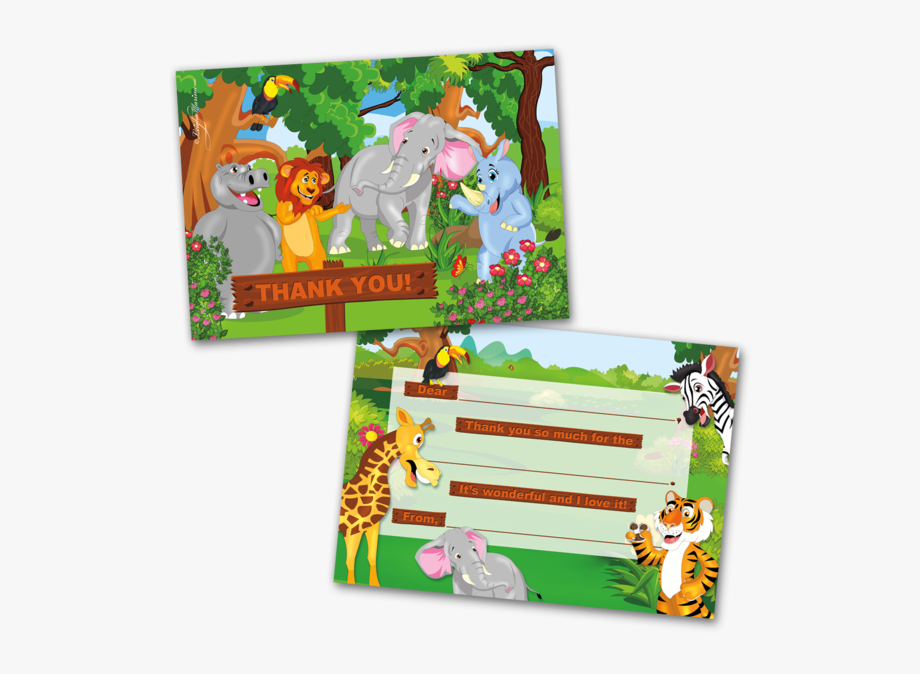 Kids thank you clipart image transparent library 10 Kids Thank You Cards Jungle Animals Themed And 10 ... image transparent library