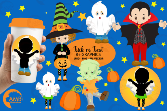 Kids trick or treating clipart vector library stock Trick Or Treat Clipart vector library stock