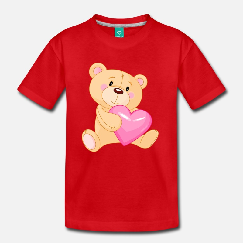 Kids tshirt clipart clipart freeuse library Cute Teddy with Pink Heart PNG Clipart Kids\' Premium T-Shirt - red clipart freeuse library