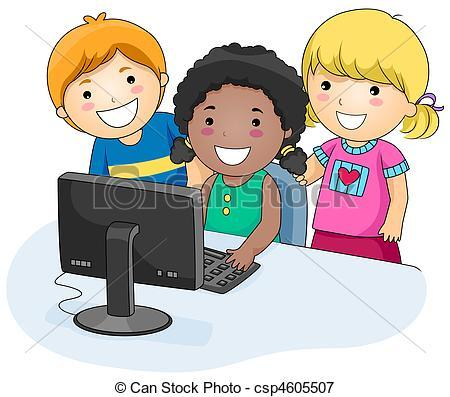 Kids using technology clipart