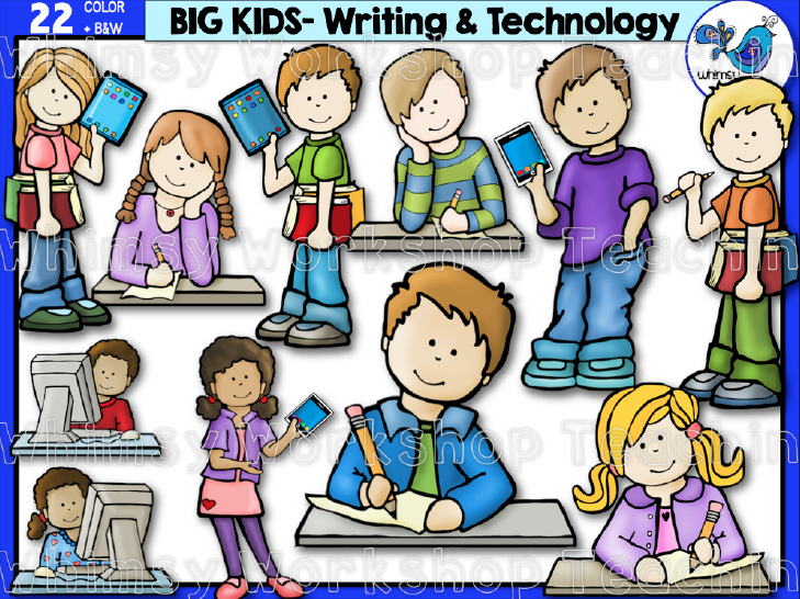 Kids using technology clipart clipart freeuse library Big Kids Writing and Technology Clip Art | classroom ideas ... clipart freeuse library