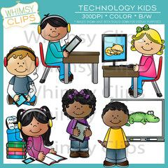 Kids using technology clipart vector black and white download Technology Kids Clip Art | School Clip Art | Internet safety ... vector black and white download