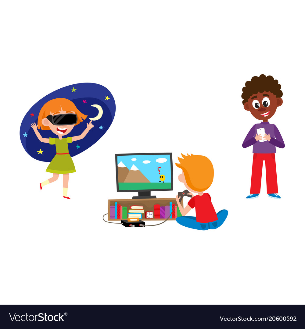 Kids using technology clipart clip black and white library Kid with technology set - children with mobile clip black and white library
