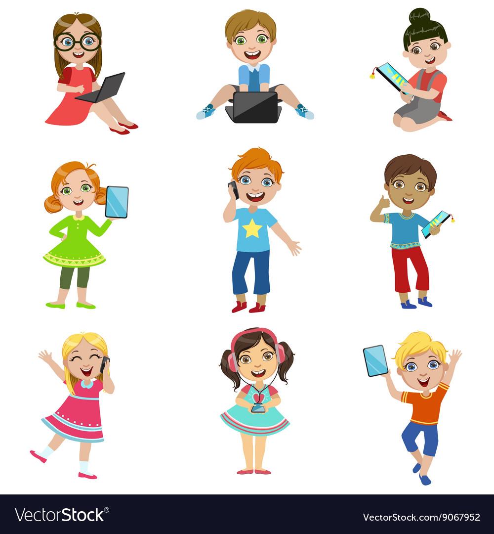 Kids using technology clipart image Kids And Modern Technology image