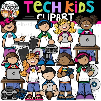 Kids creating cliparts png transparent download Tech Kids Clipart {Technology Kids Clipart} png transparent download