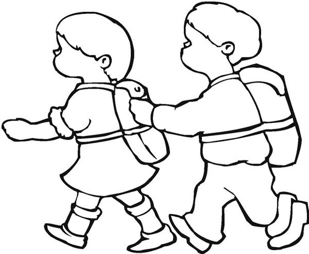 Kids walk the line clipart black and white picture free stock Children Walking Clipart Black And White picture free stock