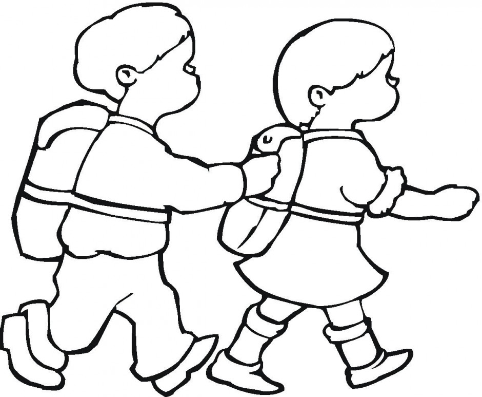 Kids walk the line clipart black and white graphic transparent Walk To School Clipart Black And White graphic transparent