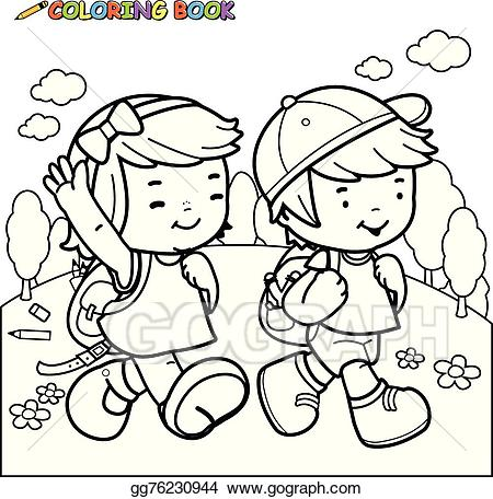 Kids walk the line clipart black and white clip library download Clip Art Vector - Kids walk to school. vector black and ... clip library download