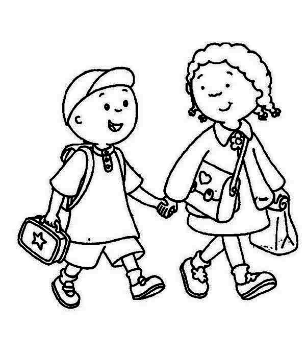 Kids walk the line clipart black and white picture library Walk To School Clipart Black And White picture library