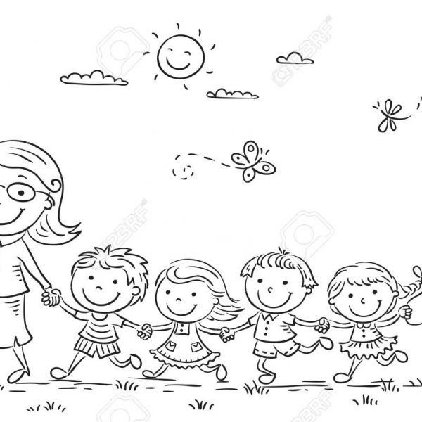 Kids walk the line clipart black and white free stock Cartoon Kids And Their Teacher On A Walk In The Kindergarten ... free stock