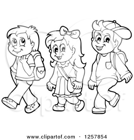 Kids walk the line clipart black and white clipart download Children Walking Clipart Black And White clipart download