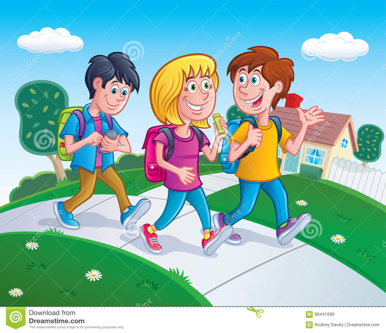 Kids walking to a us map clipart clipart transparent library Kids Walking Home From School Stock Photo - Image: 66441690 clipart transparent library