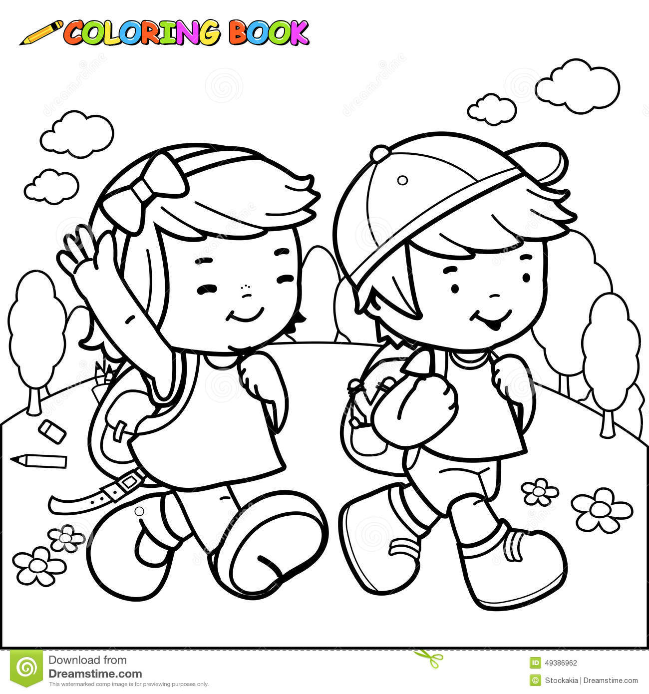 Kids walking to a us map clipart banner black and white Coloring Book Kids Walk To School Stock Vector - Image: 49386962 banner black and white