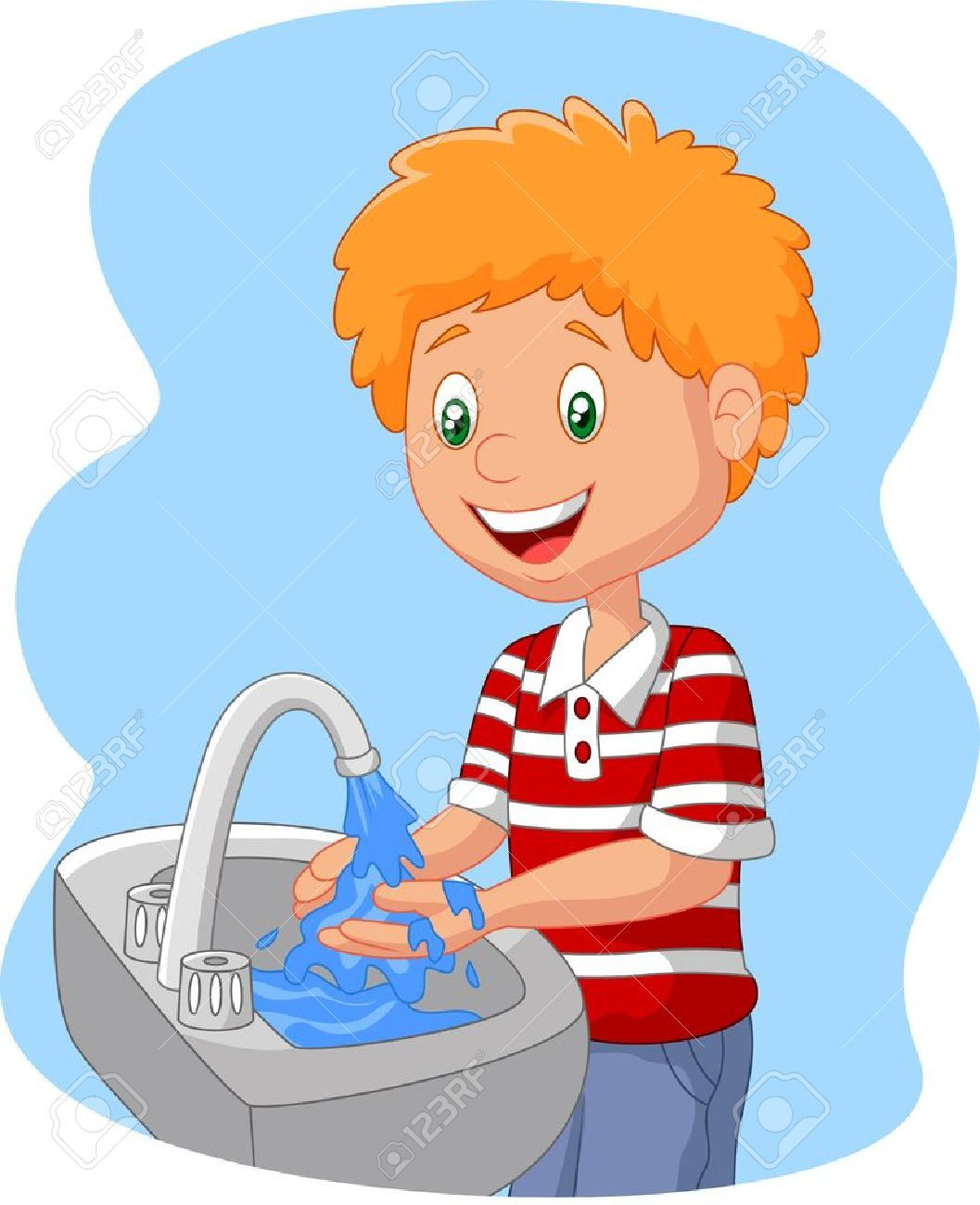 Kids washing hands clipart image black and white Child washing hands clipart 3 » Clipart Portal image black and white