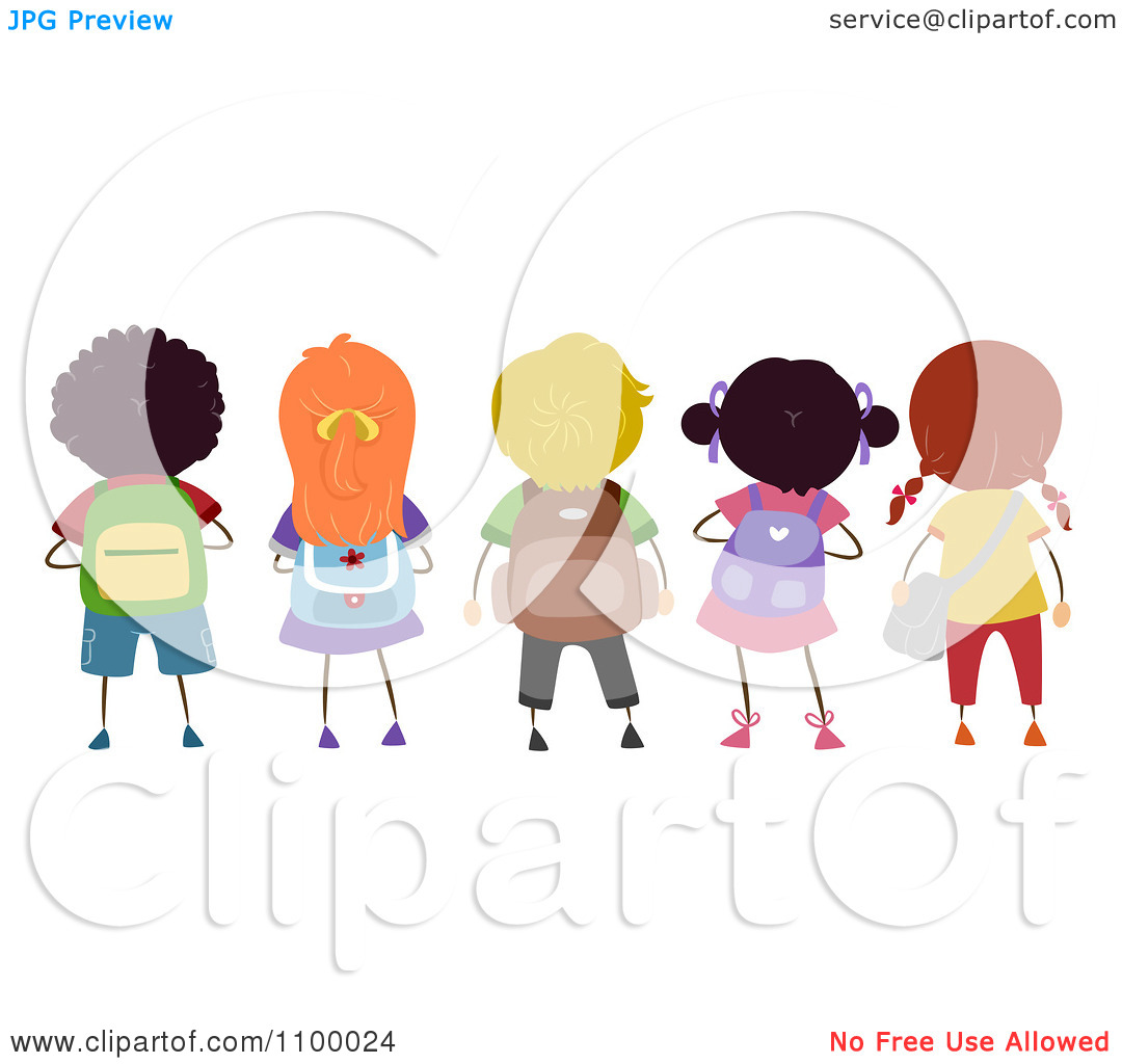 Kids with backpacks clipart clip art library Clipart Rear View Of A Row Of Diverse School Children With ... clip art library