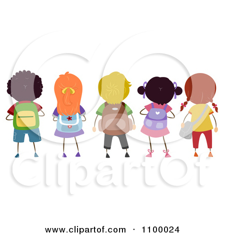 Kids with backpacks clipart jpg transparent download Clipart Rear View Of A Row Of Diverse School Children With ... jpg transparent download