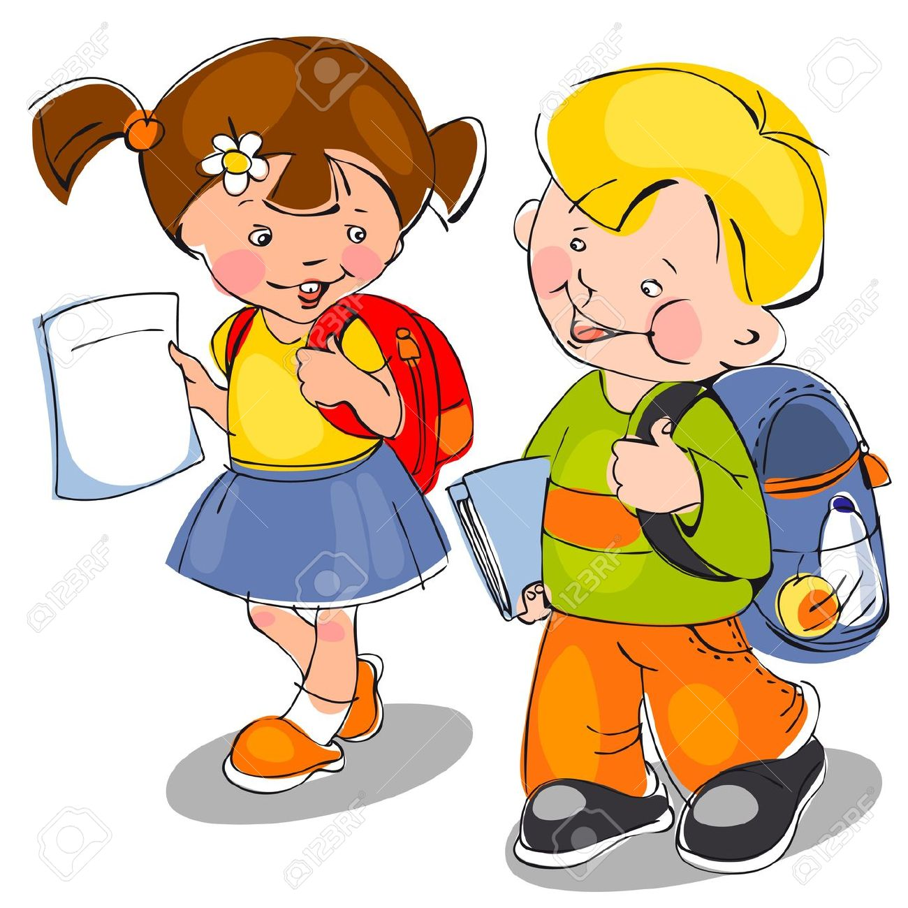 Kids with backpacks clipart image free stock Happy Children Come With Backpacks And Notebooks To School. Banner ... image free stock