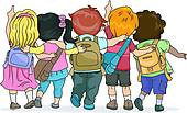 Kids with backpacks clipart svg royalty free stock Clip Art of Back View of Kids wearing a Backpack Jumping k14570308 ... svg royalty free stock
