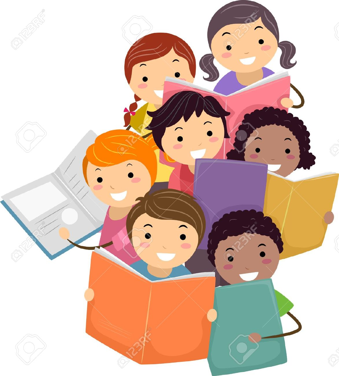 Kids with books clipart svg library download Illustration Of Stickman Kids Reading Books Stock Photo, Picture ... svg library download