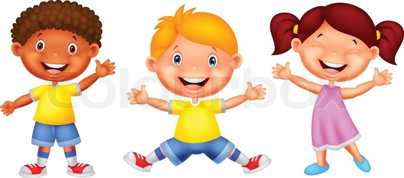 Kids with character clipart graphic black and white library cute cartoon kids waving hello stock vector colourbox. fat kid ... graphic black and white library
