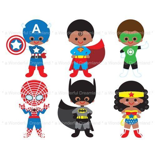 Kids with character clipart vector stock Printable Clip Art Digital PDF PNG File - Superhero Super Hero - 2 ... vector stock