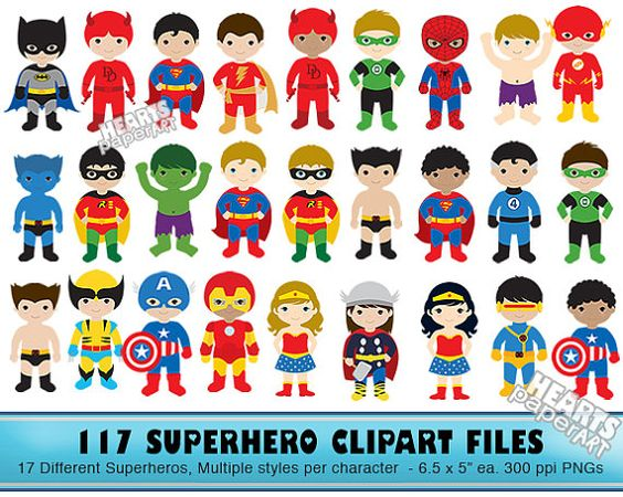 Kids with character clipart image download 117 Superhero Kids Clipart Characters 17 by HeartsPaperArt ... image download